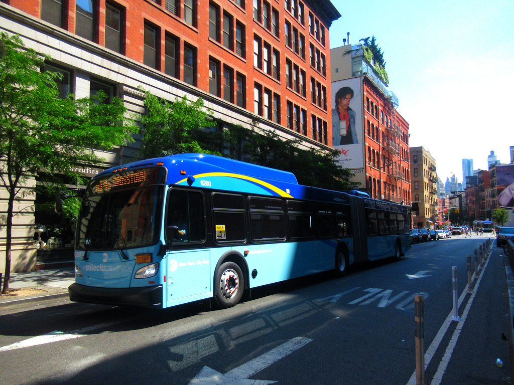 "2019 New Flyer ""Xcelsior"" XD60 6200 on the M14D at Lafayette Street & East Houston Street"