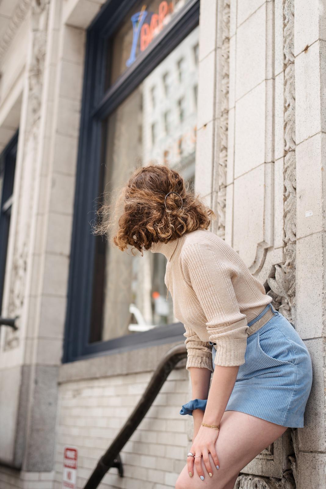 tank turtleneck, light blue mini skirt, scrunchie, snakeskin boots on juliettelaura.blogspot.com