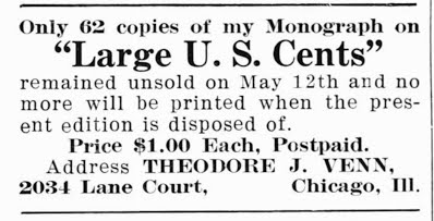 Theodore Venn Large Cents ad NUMISMATIST JUne 1915, 231