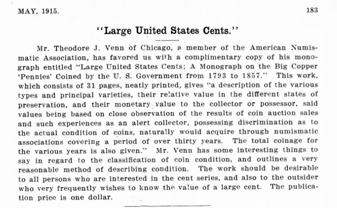 Theodore Venn zerbe article NUMISMATIST May 1915, 183