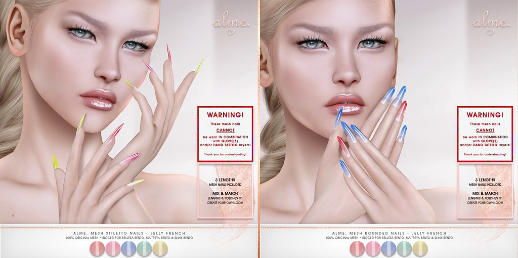 "Alme. for Belle. Events ""Alme Mesh Rounded & Stiletto nails//Jelly French nails"" ♥ - TeleportHub.com Live!"
