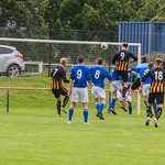Nicholas Gray (9) heads home a Kai Ross corner to open the scoring
