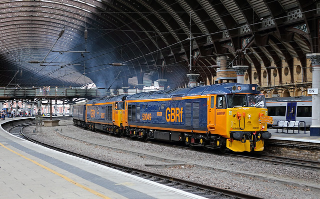 50049 and 50007 under the roof at York. 6 July 2019