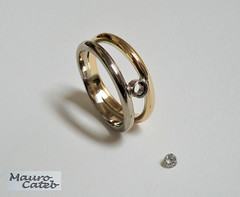 Two-gold and diamond ring