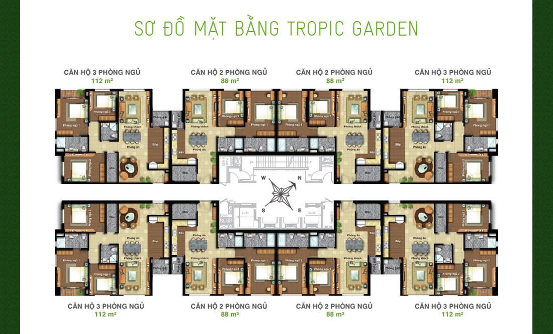 Layout thiết kế mặt bằng căn hộ Tropic Garden Novaland