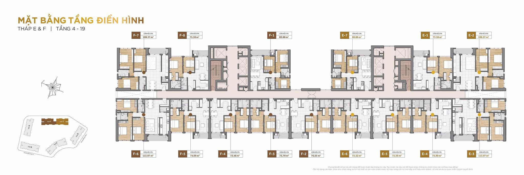 Thiết kế mặt bằng tầng điển hình căn hộ.