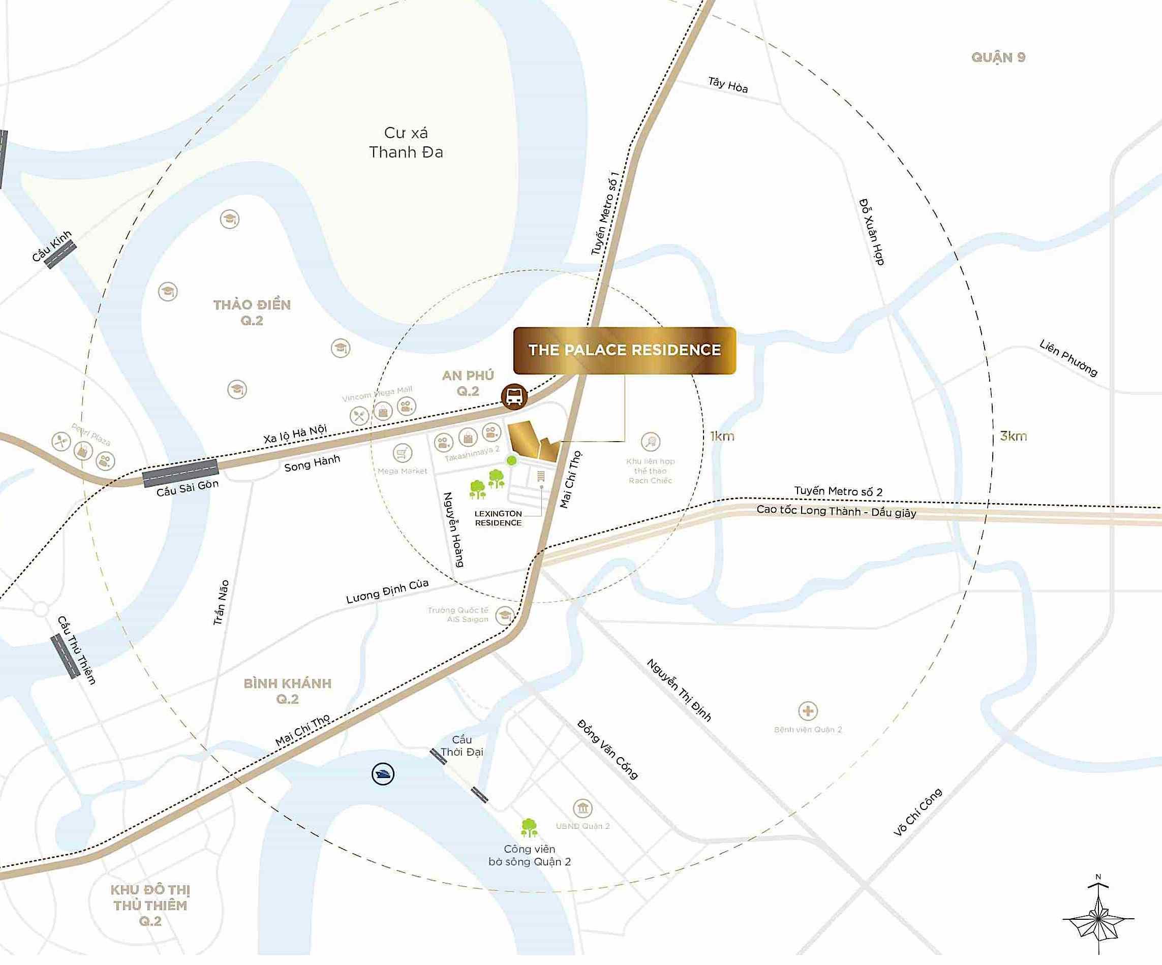 vị trí tại căn hộ The Palace Residence quận 2