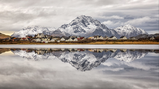 Reflections in Lake Haldsvågen, Lofoten, Norway