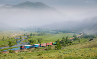 Misty morning of Schatan mountains