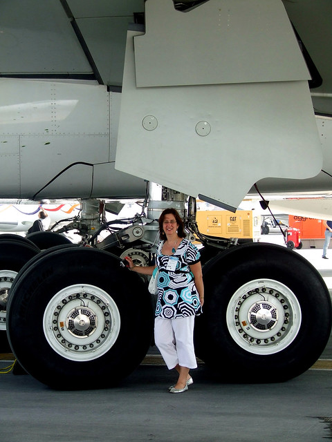 An Airbus A380 Undercarriage And My Wife For Scale