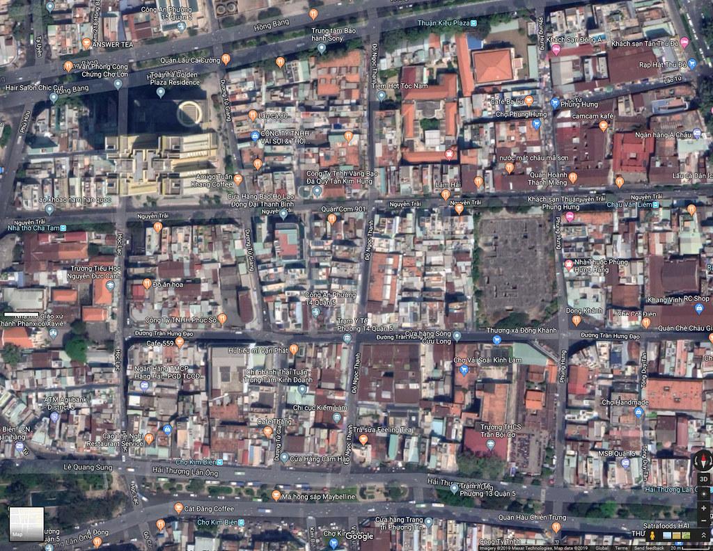 CHOLON - Ảnh vệ tinh khu vực cuối đường Đồng Khánh ngày nay