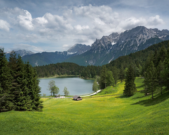 Fantastic view to a lake in the Bavarian Alps