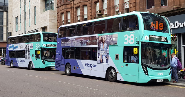 First Glasgow Alexander Dennis Enviro 400 MMC`s 34390 and 34366