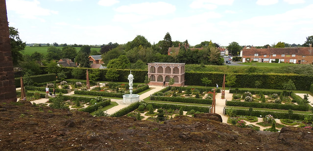 Looking over the wall at Kenilworth Castle - into the Elizabethan Garden
