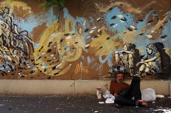 Sin techo en el Barrio de San Lorenzo, en Roma