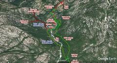 Photo 3D Google Earth du secteur Carciara - Paliri avec les chemins du Carciara (HR21) et de Paliri (HR31) en rouge et le trajet aller - retour de l'operata en vert fluo