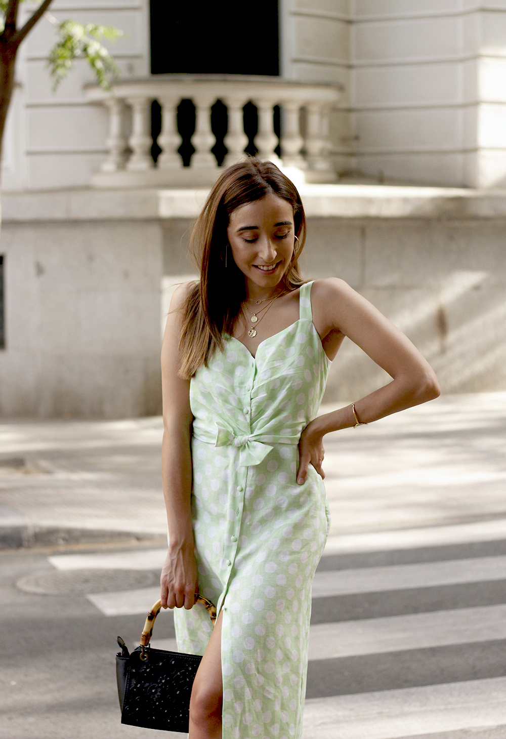 linen dress with polka dots uterqüe street style summer outfit 20197