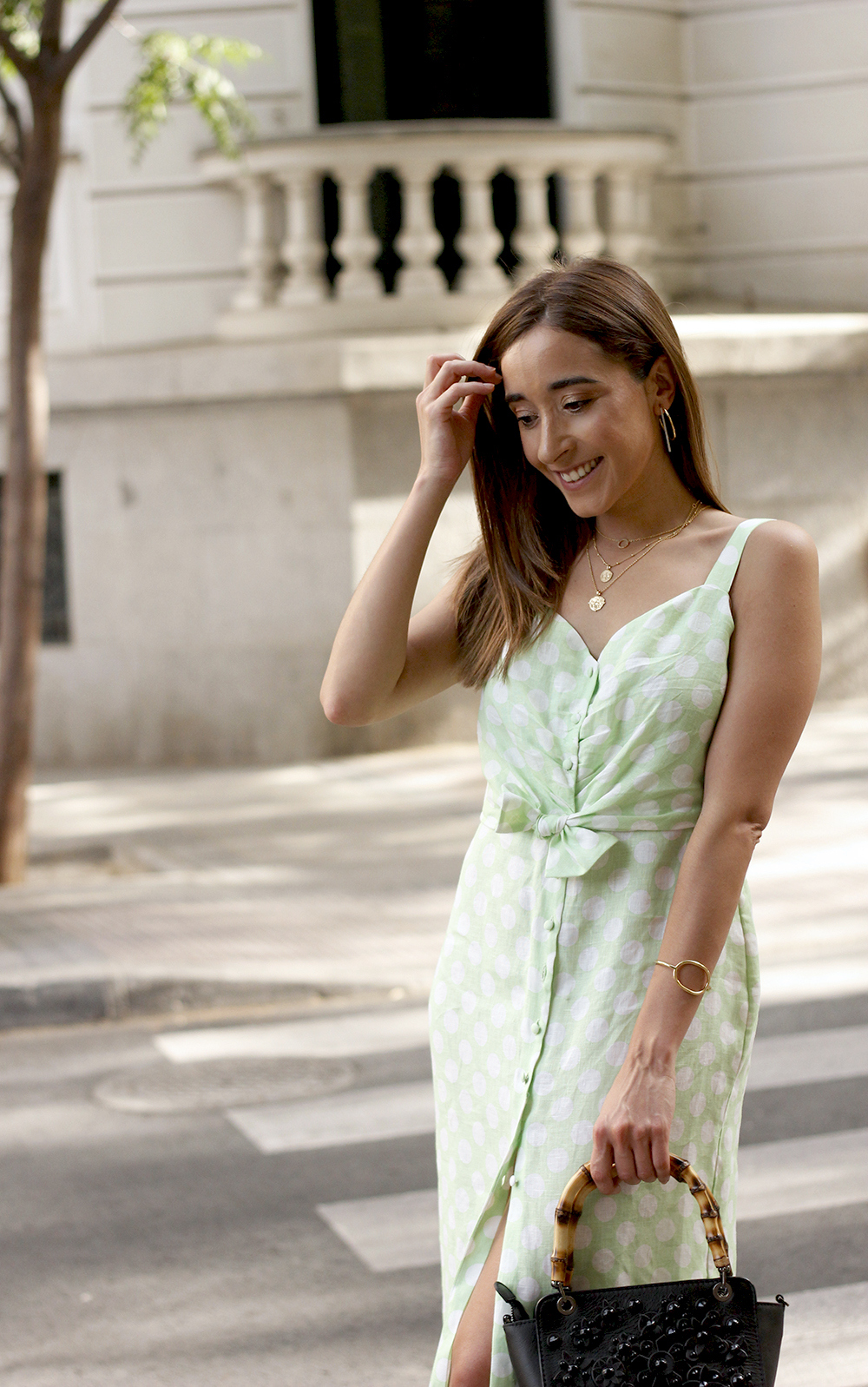 linen dress with polka dots uterqüe street style summer outfit 20196