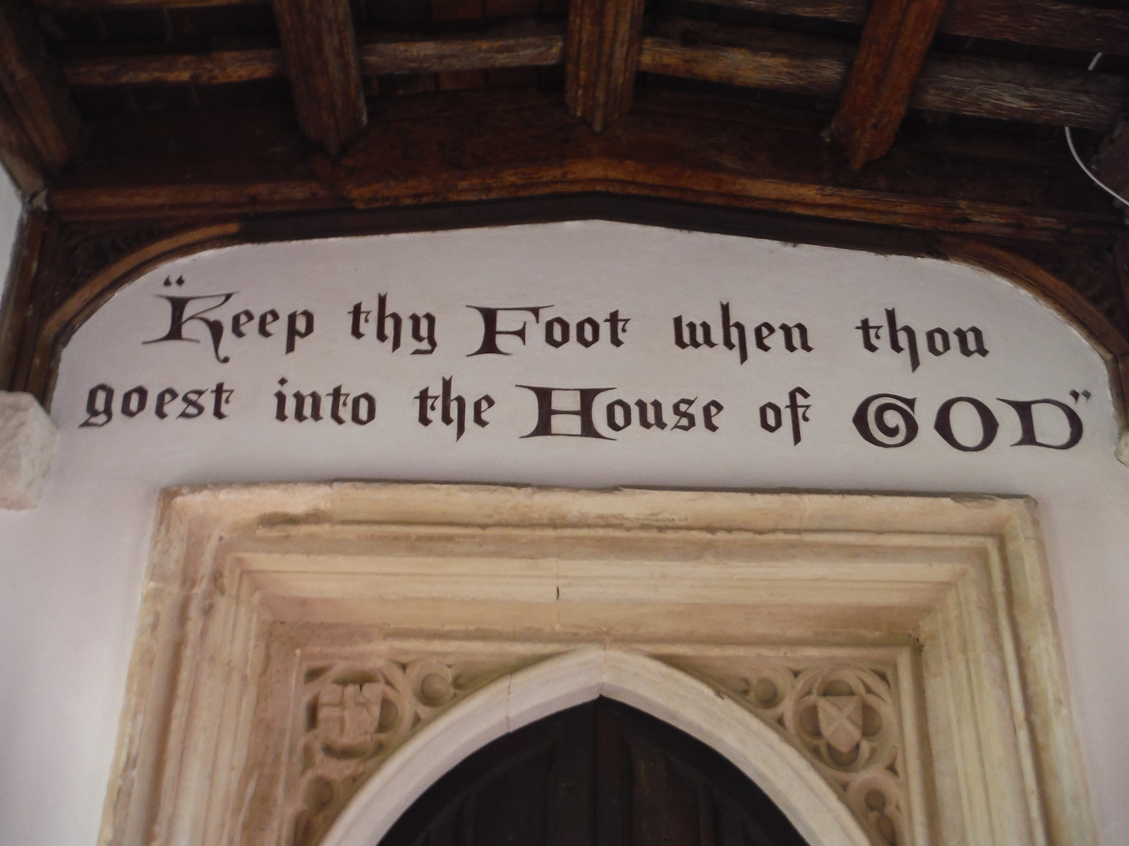 Inscription over door at St. Andrew's Church, Much Hadham SWC Walk 210 - Sawbridgeworth to Bishop's Stortfort (via Henry Moore Foundation) [Much Hadham Church Loop]