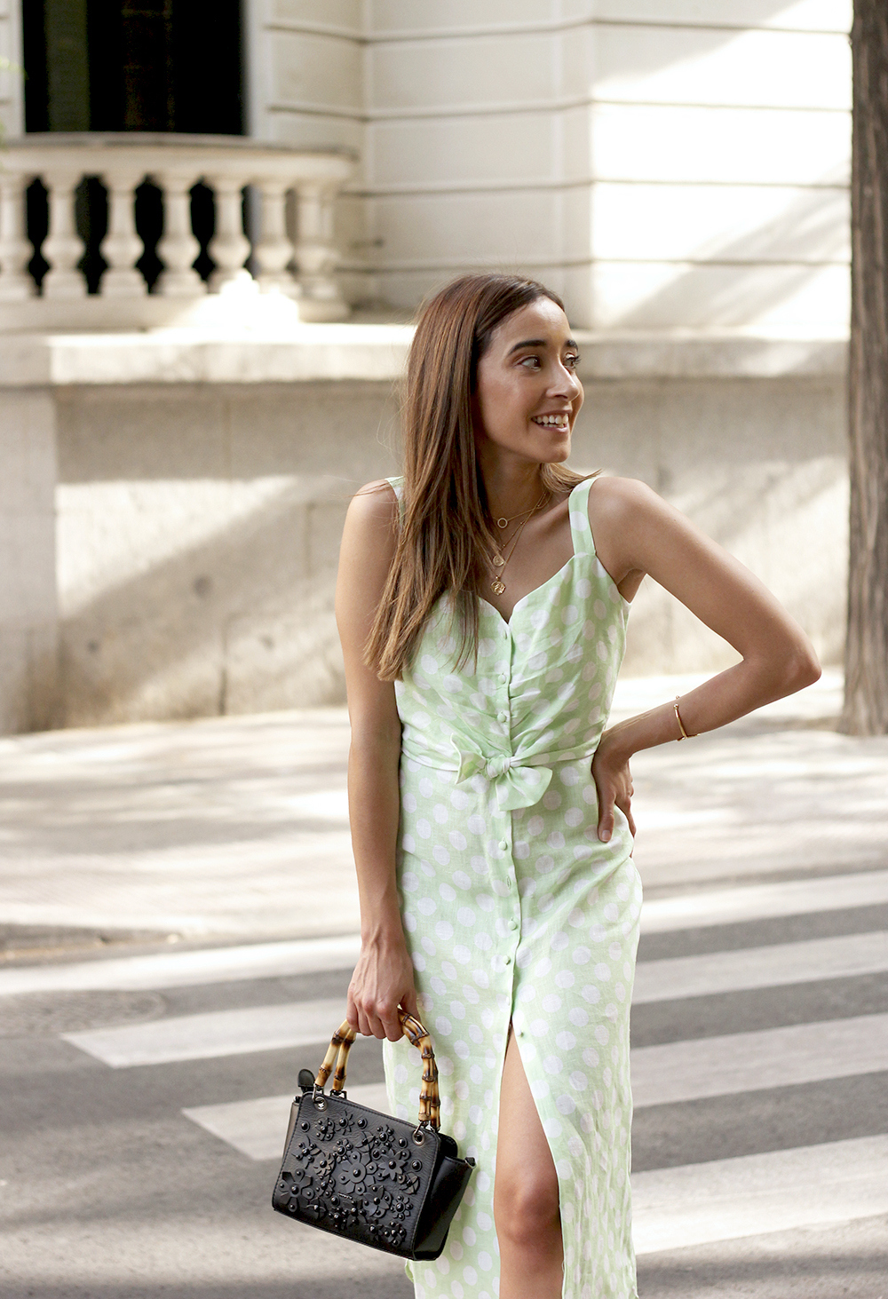 linen dress with polka dots uterqüe street style summer outfit 20198