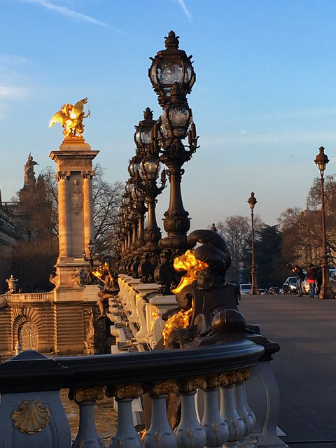 Paris France - Pont Alexandre III - Grand Palais in the background