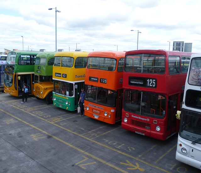 Bus liveries of the past in Glasgow.