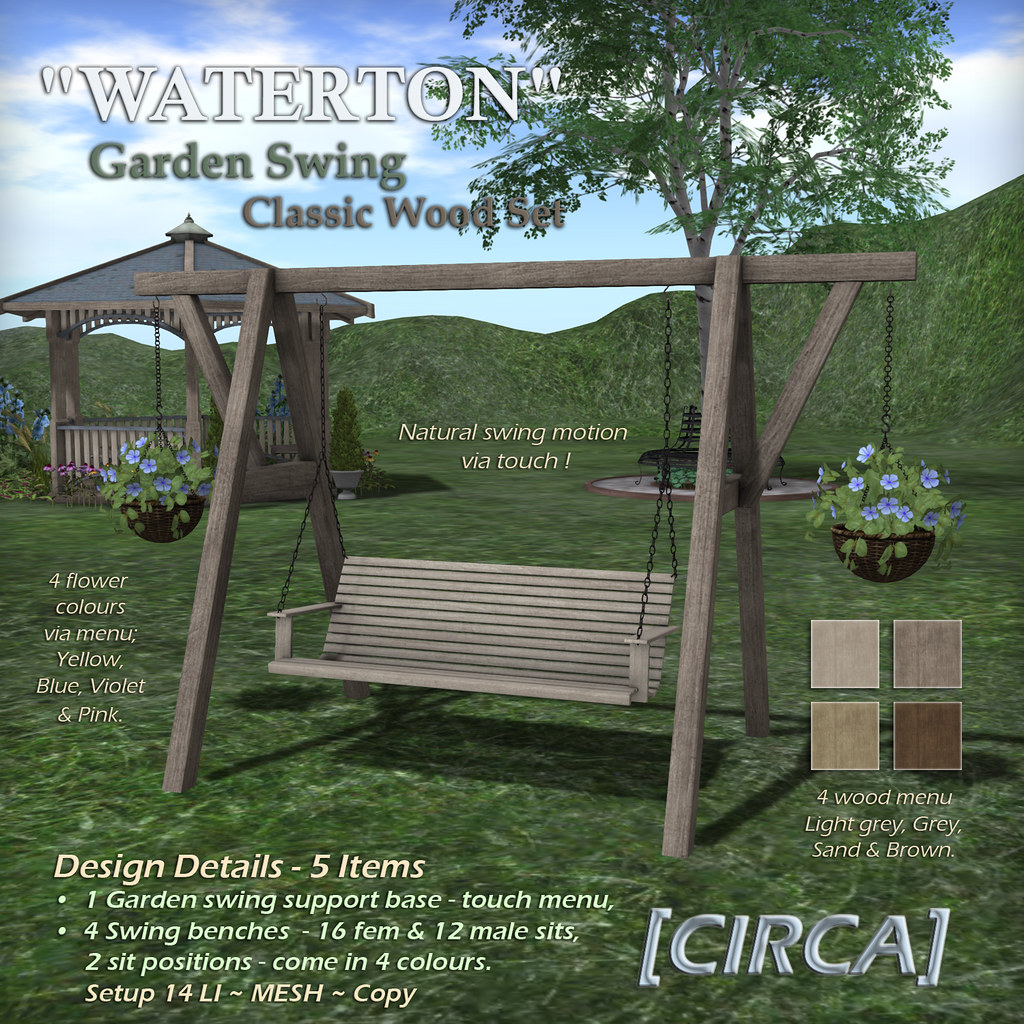WATERTON Garden Swing – Classic Wood Set
