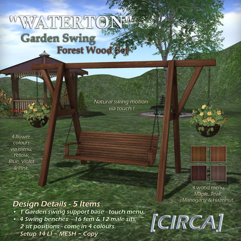 WATERTON Garden Swing – Forest Wood Set