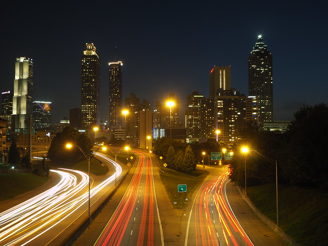 Downtown Atlanta skyline at night