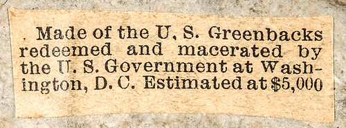1909 Macerated Currency Taft Plaque label