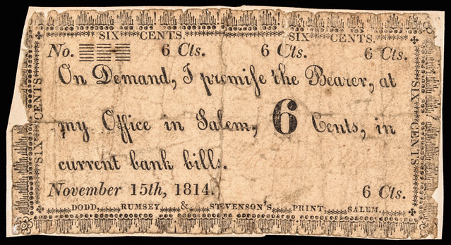 1814 New York Six Cent Scrip Note