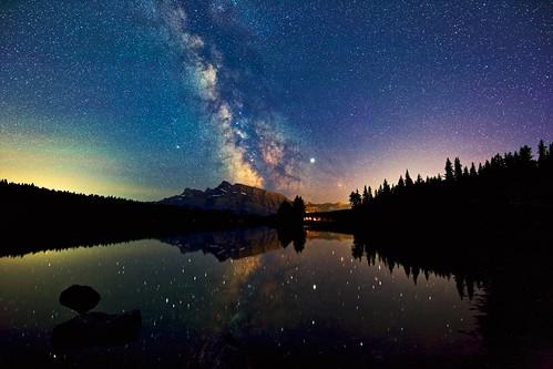 Deep summer sky at 2 Jack Lake Banff park