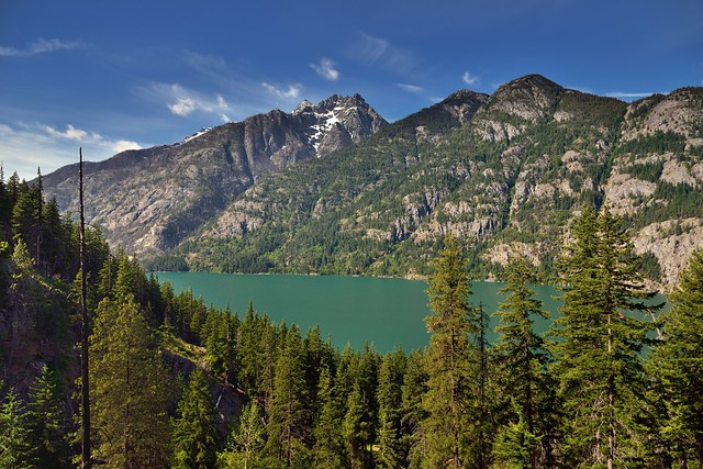 Green Water of Lake Chelan Surrounded by Towering Peaks (North Cascades National Park Service Complex)