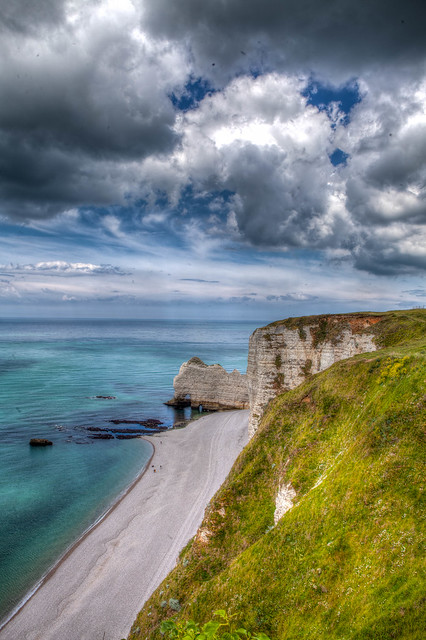Cliff, sand and clouds