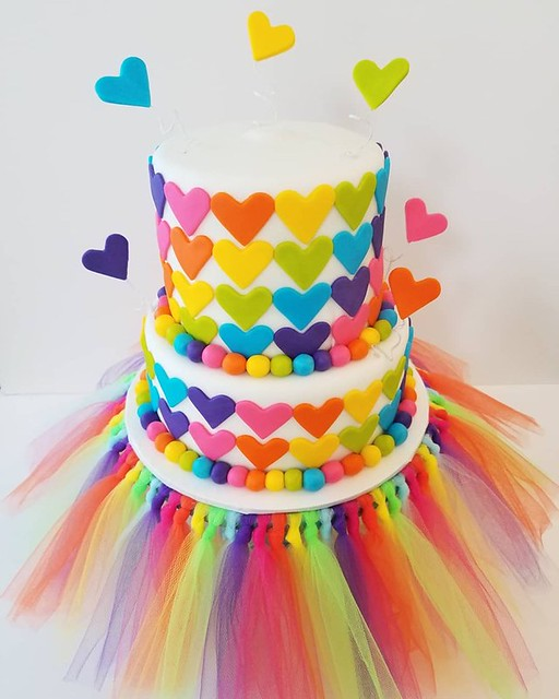 Rainbow Heart Birthday Cake by Dreams ~n~ Sugar