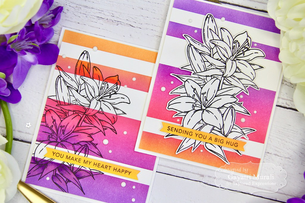 Striped Ink Blending card set closeup