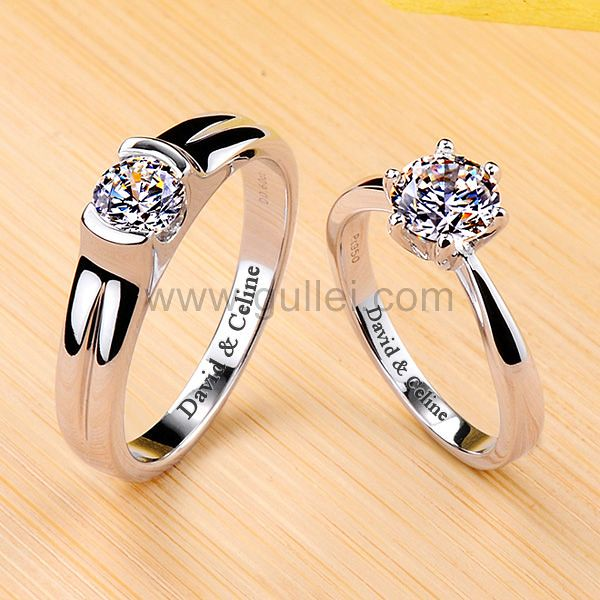 gullei.com 1.6 Ct Diamond Engagement Personalized Rings Platinum Plated Silver