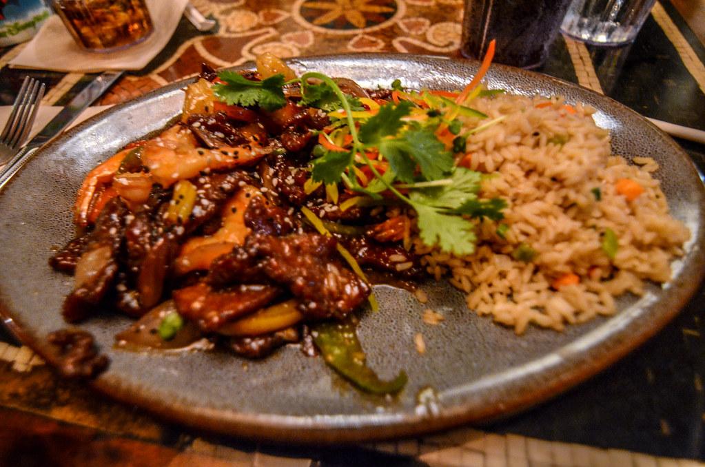 Steak and shrimp stir fry Yak & Yeti AK