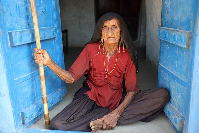 India, old Rabari woman in Kutch
