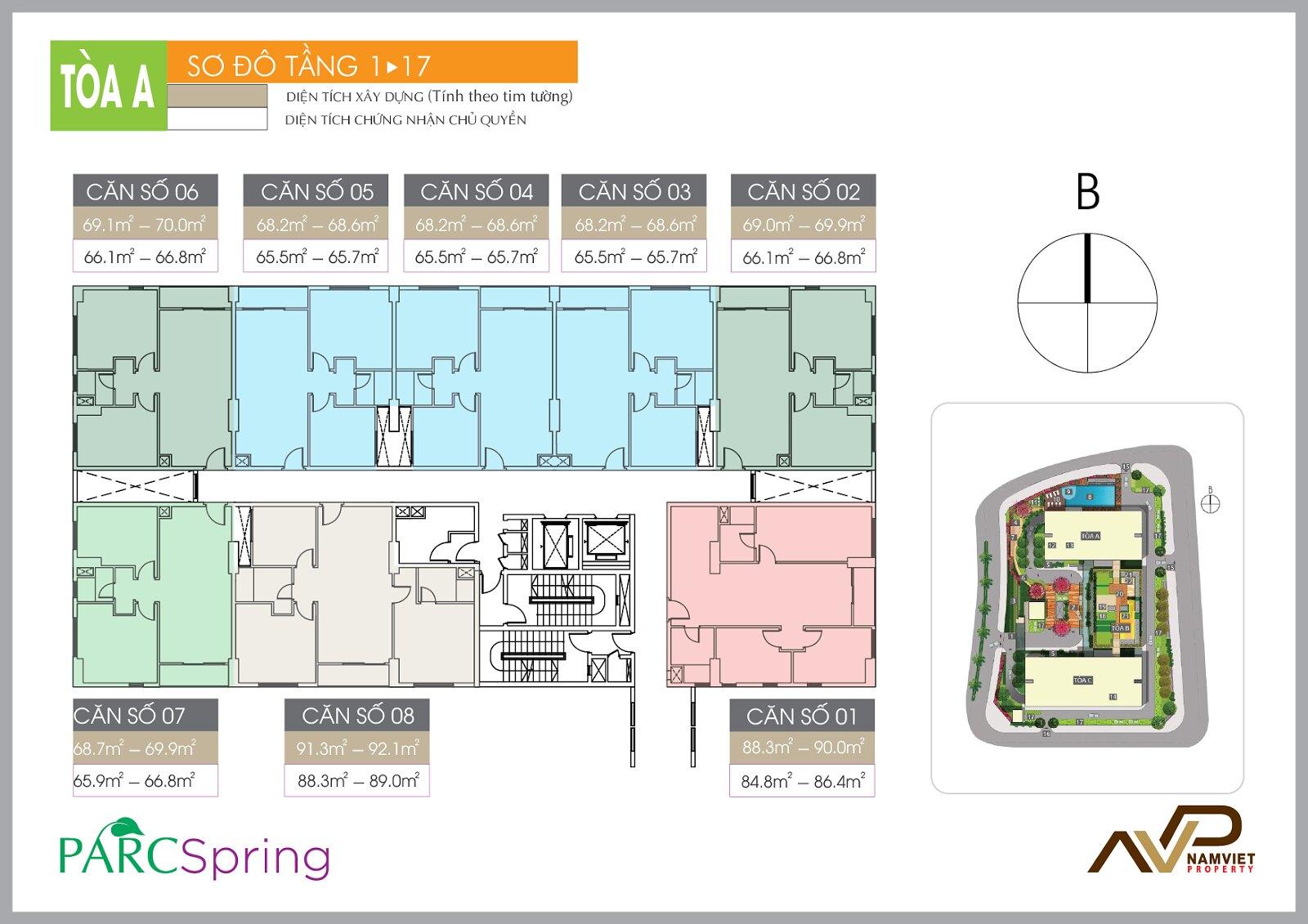 sơ đồ tầng 1-17 Block A
