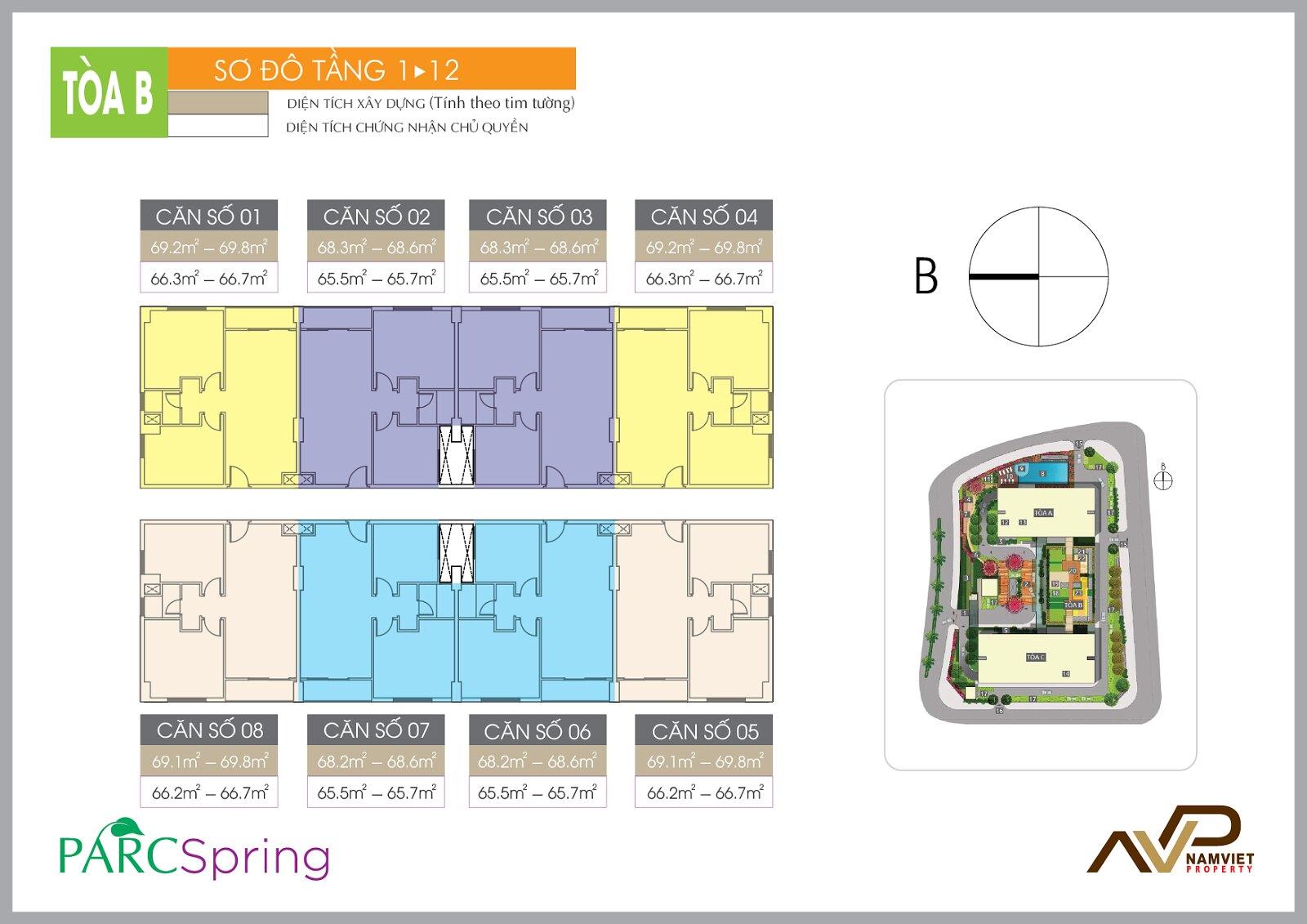 Sơ đồ tầng 1-12 Block B