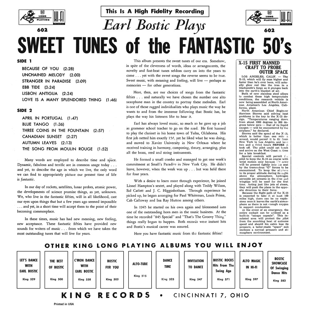 Earl Bostic Plays Sweet Tunes of the Fantastic 50s