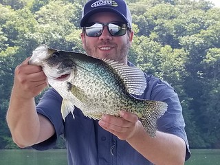 Photo of man with a crappie in Loch Raven Reservoir
