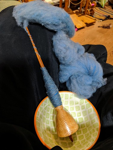 Spinning handcarded Targhee wool on Malcolm Fielding silky oak pocket Dervish Tibetan style spindle and support bowl