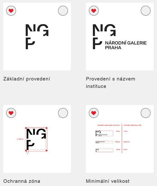 Logo Národní galerie Praha. Logotyp manuál