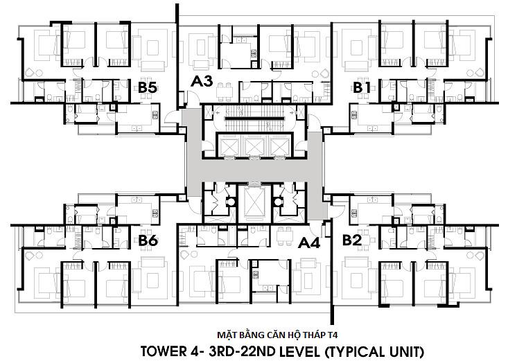 Mặt bằng căn hộ tháp T4