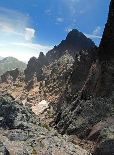 En montant au-dessus du col Sud sous la Soeur SW : Brèche du Sphynx et Paglia Orba