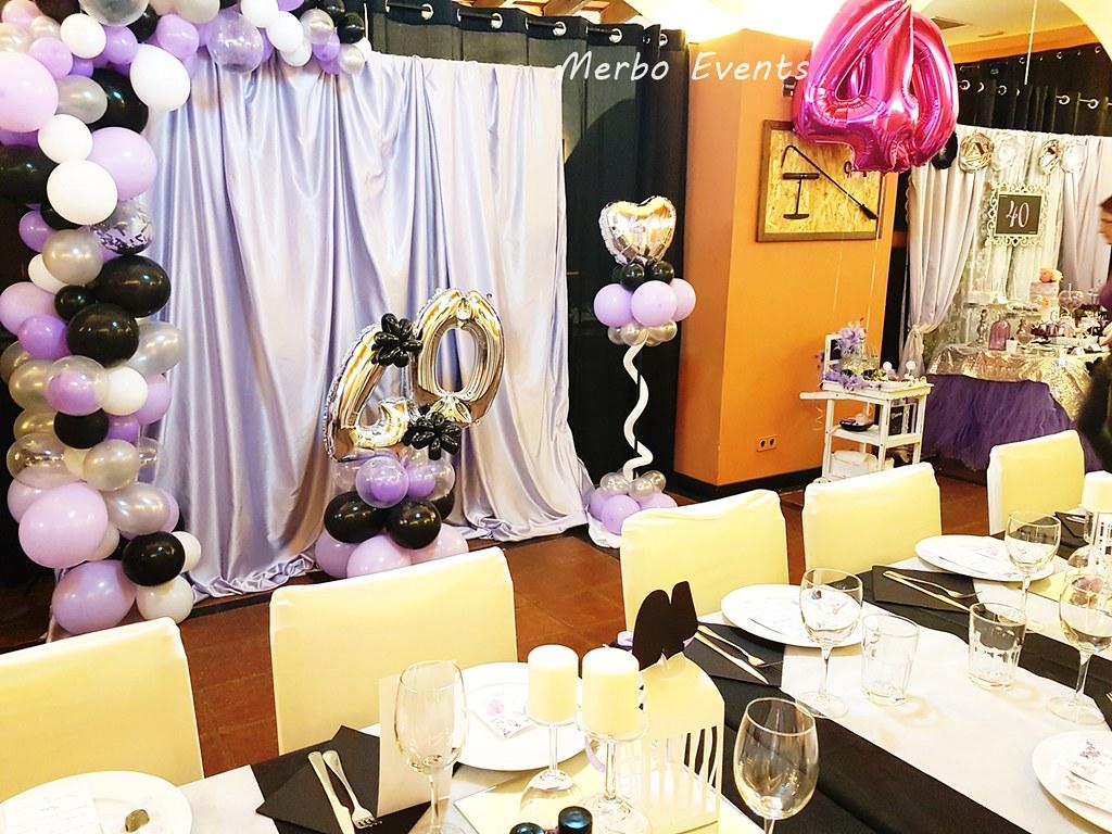 decoracion con globos fiesta 40 cumpleaños merbo events