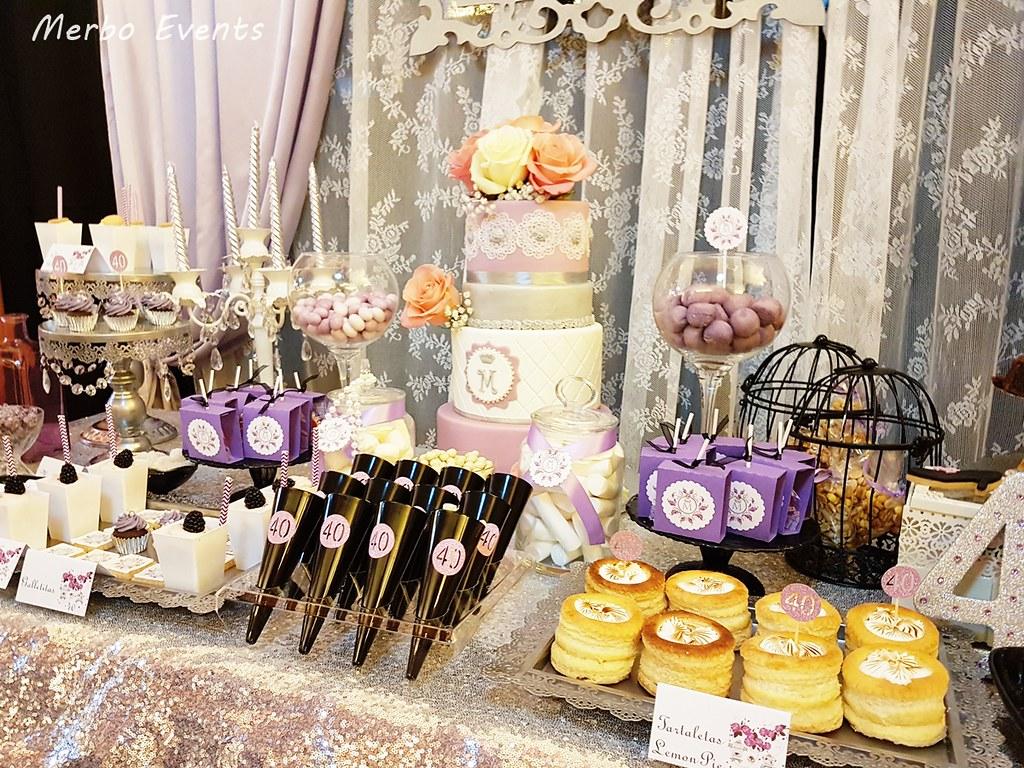 mesa dulce 40 cumpleaños merbo events