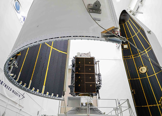 Lockheed Martin's Second GPS III satellite is encapsulated prior to launch. | by Lockheed Martin